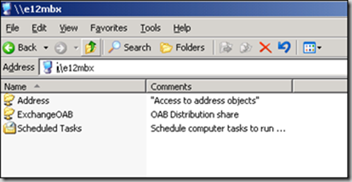 Mailbox Server viewed in Explorer