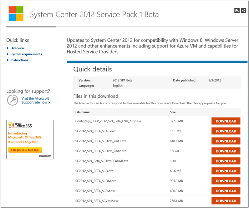 System Center 2012 SP1 Beta Download