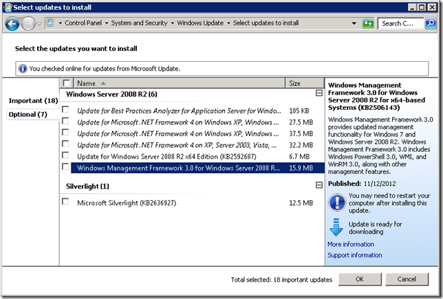 Microsoft Update - Windows Managemeng Framework 3.0 After Installing .NET 4.0