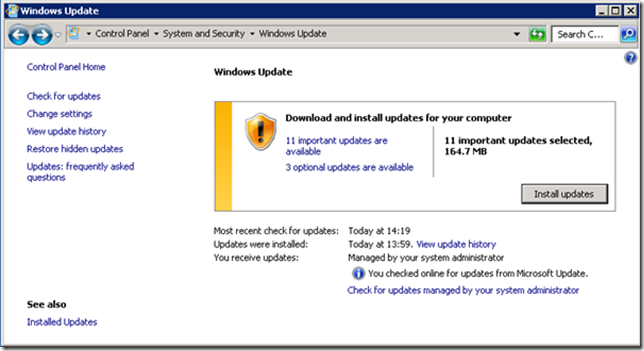 Microsoft Update - No Windows Management Framework 3.0