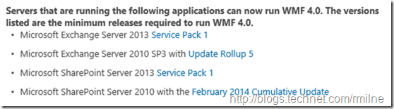 Exchange Support For Windows Management Framework (WMF)
