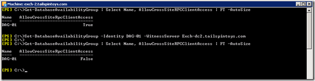 Exchange 2010 DAG - AllowCrossSiteRPCClientAccess  Has Changed From Enabled to Disabled