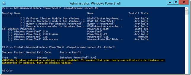Windows 2012 - Remotely Installing PowerShell