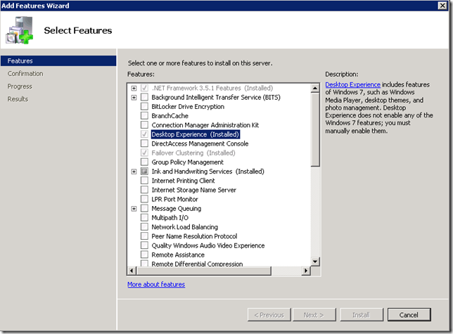 Windows 2008 R2 Add Features - Desktop Experienced Highlighted