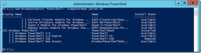 Get-WindowsFeature To Check Installed Components Remotely.  PowerShell Not Installed.