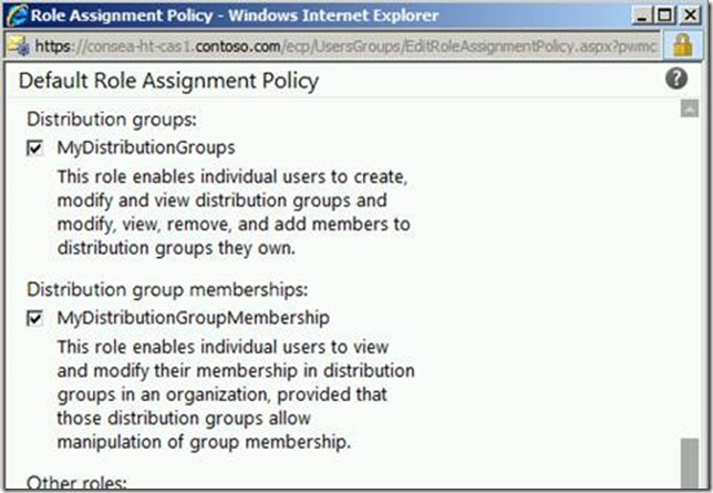Exchange 2010 Default Role Assignment Policy Edited To Enable MyDistributionGroups