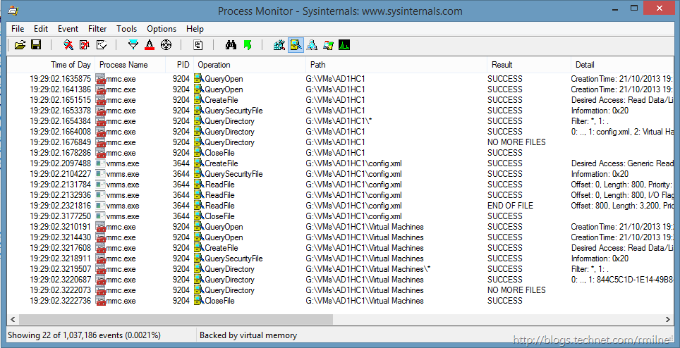 Importing a Virtual Machine From Windows 2008 R2 Hyper-V Into Windows 8.1 - Process Monitor Analysis