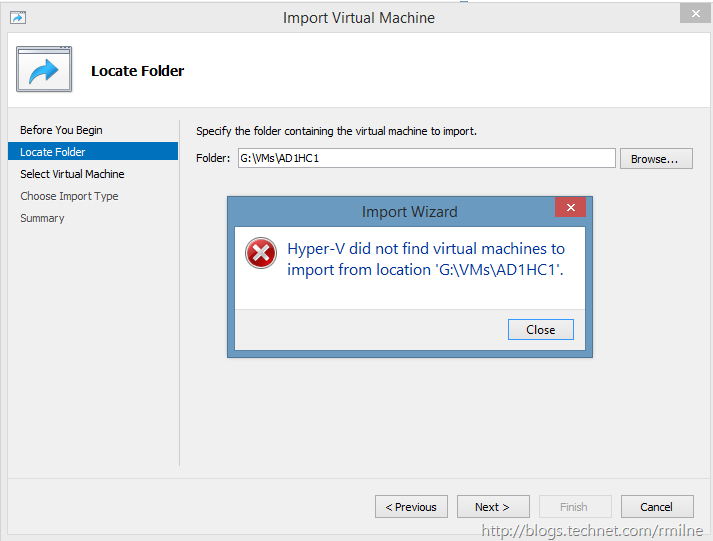 Importing a Virtual Machine From Windows 2008 R2 Hyper-V Into Windows 8.1 - Hyper-V did not find virtual machine to import