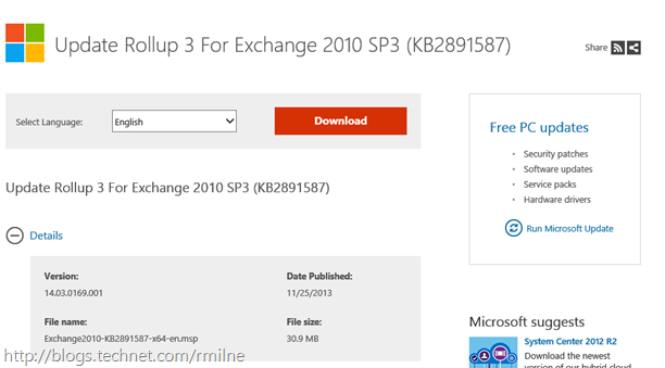 Exchange 2010 SP3 RU3 Download Available