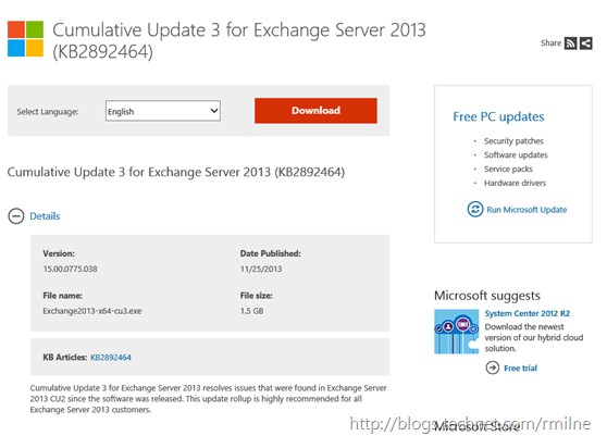 Exchange 2013 CU3 Download Available