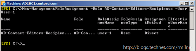 Exchange RBAC - Assigning Custom Role Directly To End User