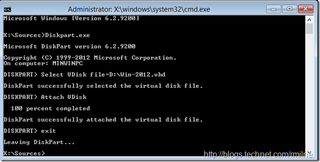 Install Windows 2012 Into VHD - Attach VDisk Using Diskpart