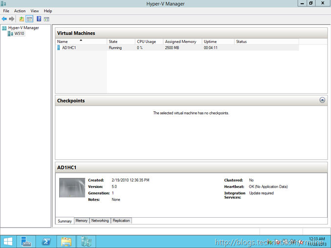 Windows 2012  R2 Hyper-V Manager - Comverted VM Now Running