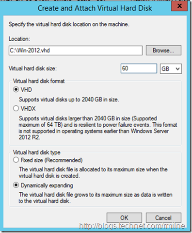 Create Dynamically Expanding Windows 2012 VHD