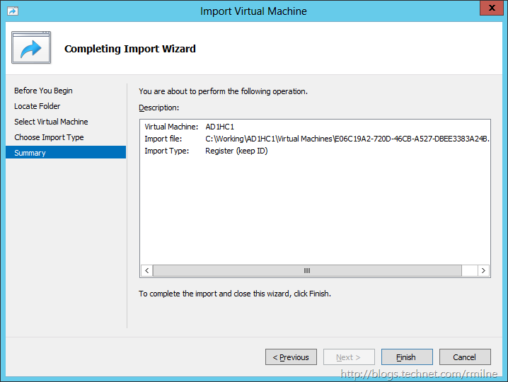 Windows 2012 - Import VM Finshed
