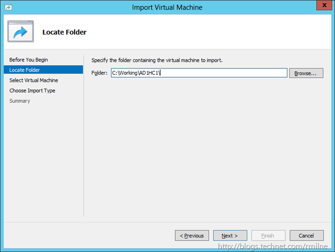 Windows 2012 - Import VM