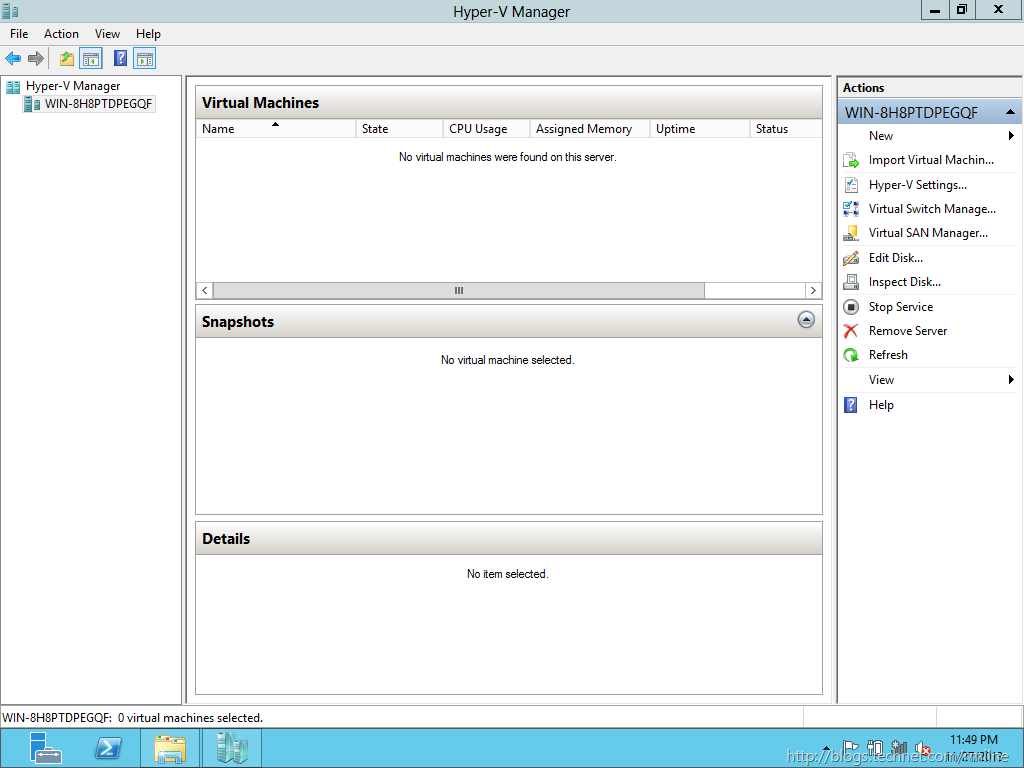 Windows 2012 - Empty Hyper-V Manager