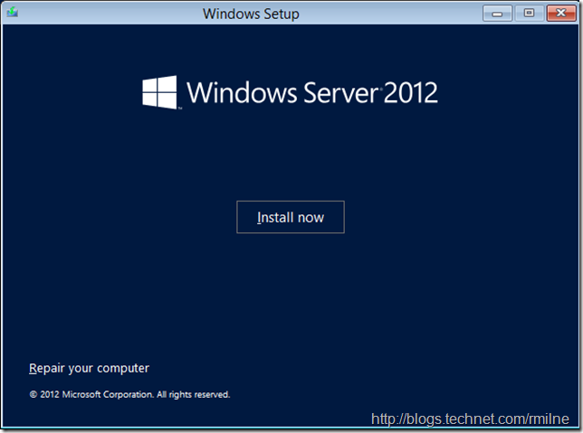 Install Windows Server 2012