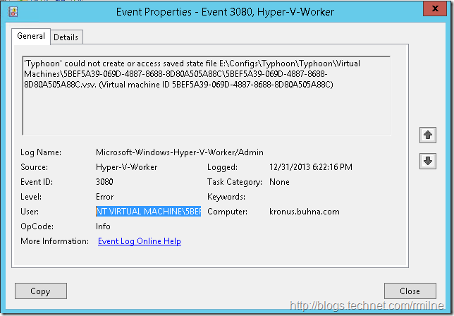 Hyper-V Could Not Create Or Access Saved State File EventID 3080