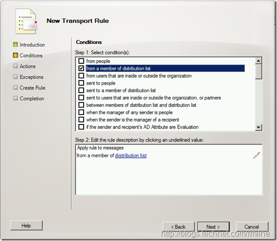Exchange 2010 Transport Rule Wizard - From Member Of Distribution List
