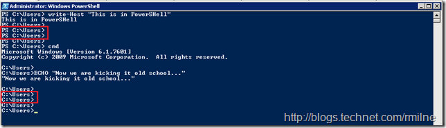 Differences In PowerShell and CMD Prompt