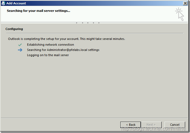 Creating New Outlook 2013 Profile - Searching For Settings...