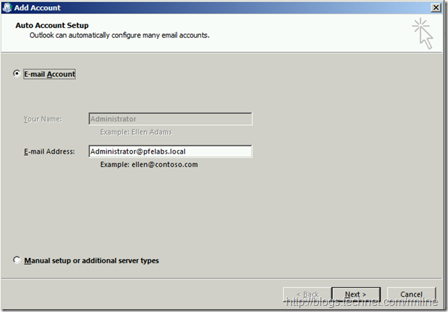Creating New Outlook 2013 Profile - Auto Account Setup