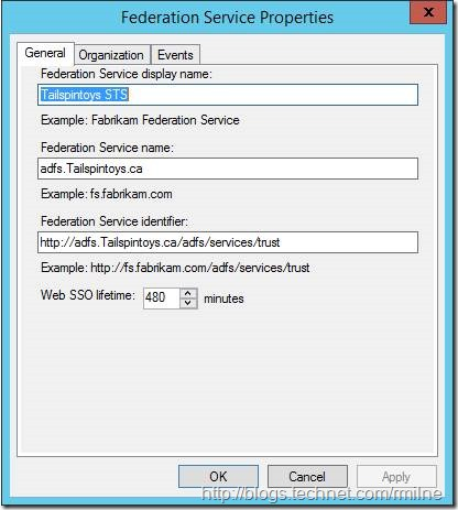 Server 2012 ADFS Role Properties - Showing Display Name And Federation Service Name