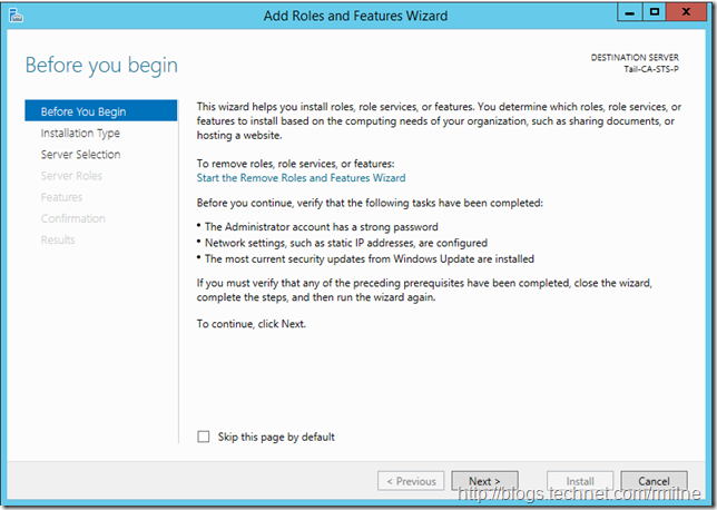 Windows 2012 R2 Add Roles And Features Wizard