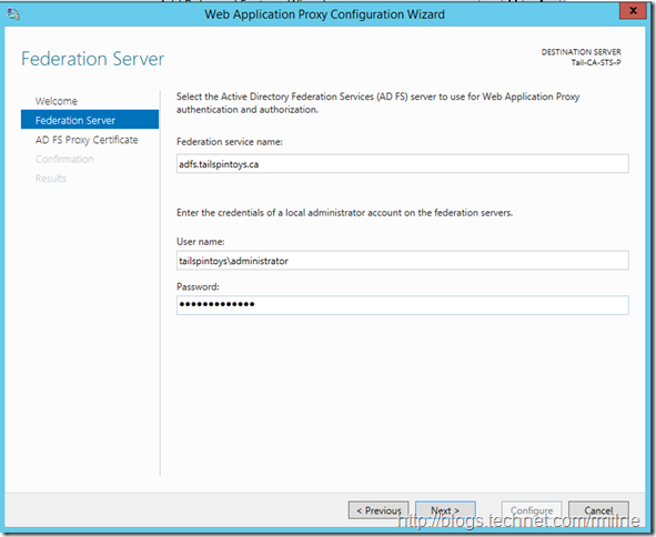 Windows 2012 R2 ADFS Proxy Configuration - Federation Service Name Correctly Filled In