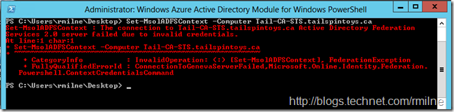 The connection to Active Directory Federation Services 2.0 server failed due to invalid credentials