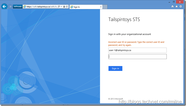OOPS! Logging On To Tailspintoys ADFS Page With Bad Password