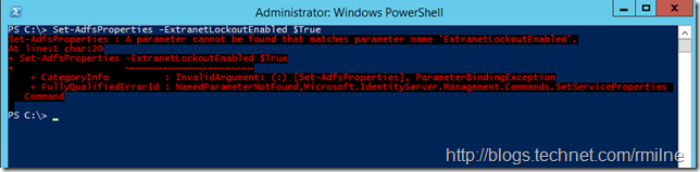 Configuring Server 2012 R2 AD FS Extranet Lockout -- Beware Syntax