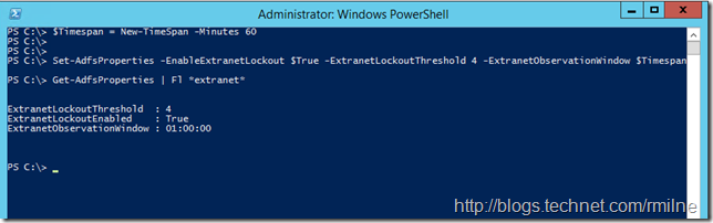 Configuring Server 2012 R2 AD FS Extranet Lockout Settings