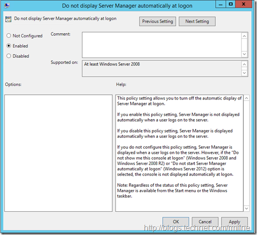 Disable Server Manager At Logon on Server 2012 R2