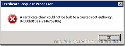 Certificate Request Processor: A certificate chain could not be built to a trusted root authority. 0