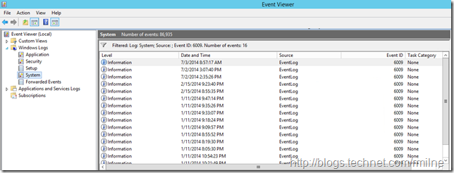 Using EventID 6009 To Show Server Restart Dates