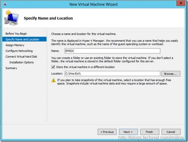 Server 2012 New Virtual Machine Wizard - Specify Name And Location