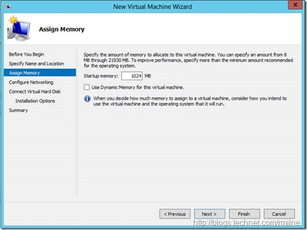 Server 2012 New Virtual Machine Wizard - Assign Memory