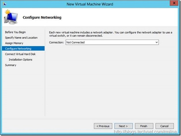Server 2012 New Virtual Machine Wizard - Configure Networking