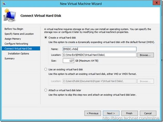 Server 2012 New Virtual Machine Wizard - Connect Virtual Hard Disk (Defaults)