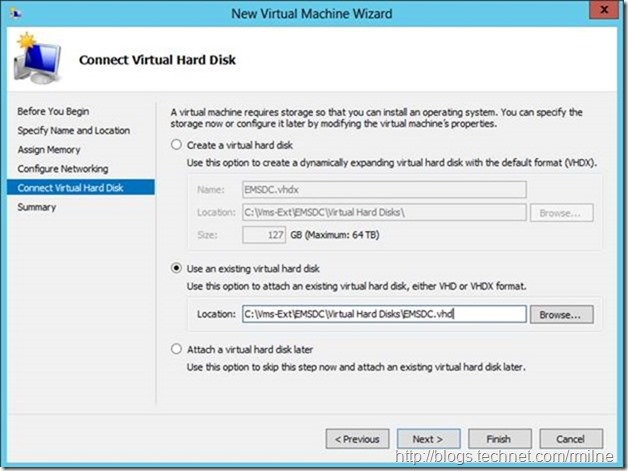 Server 2012 New Virtual Machine Wizard - Connect Virtual Hard Disk (Using Existing Virtual Hard Disk)