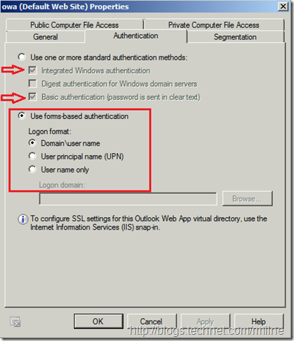 Current Authentication Settings In Exchange 2010 Management Console