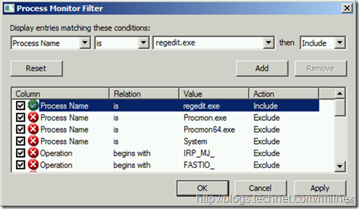 Process Monitor Filter - Include Regedit.exe