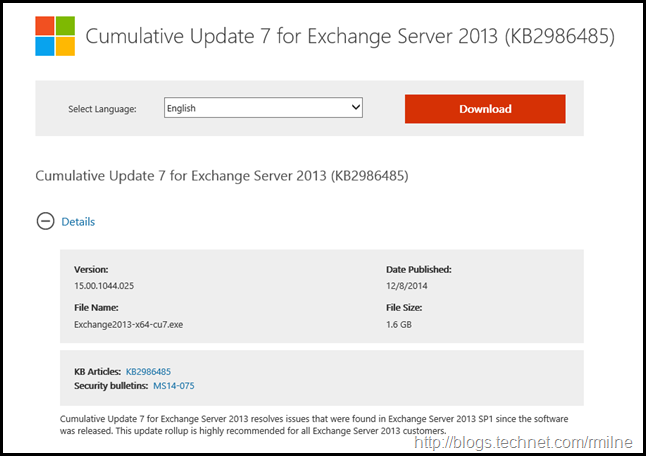 Exchange 2013 CU7 Download