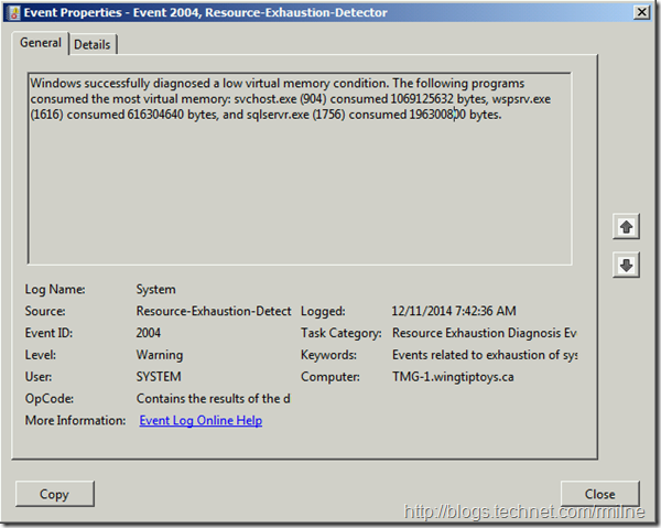 EventID 2004 Windows Successfully Diagnosed A Low Memory Condition