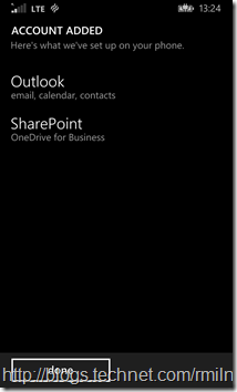 Windows Phone 8.1 - Exchange Account Was Added Sucessfully