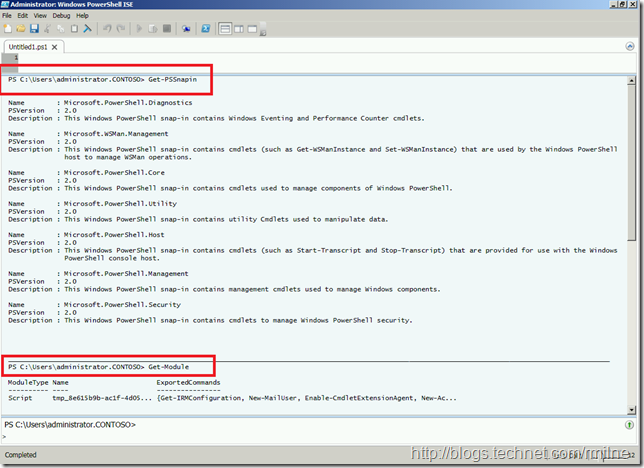 PowerShell ISE - Exchange Commands Loaded.  Look Mum - No Module!!!