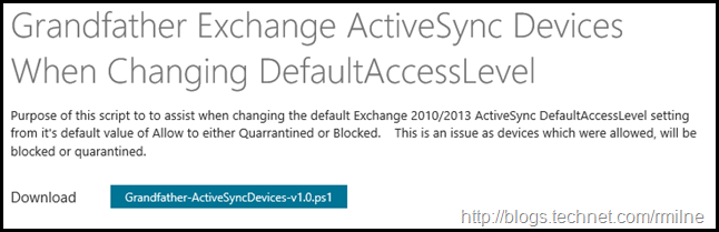 Download ActiveSync Script To Allow All Currently Synchronising Devices