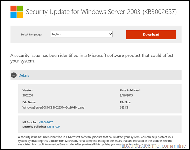 Download Updated MS015-027 Update For KB3002657